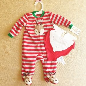 Nwt Just one you by carters Reindeer santa bib set